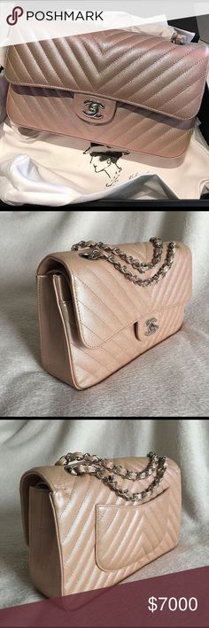 c7111a184957 Chanel Iridescent Gold Medium Classic Flap Bag Chanel Iridescent Gold  Chevron Medium Classic Flap Bag in