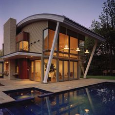Indeed, people build pool house add beauty value to the owner's property. Find out most popular Pool House Ideas around the net here! Quonset Homes, Living Roofs, Modern Pools, Roof Architecture, Roof Styles, Patio Roof, House Roof, Modern Exterior, Exterior Houses