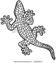 Black lizard isolated on white background, stylized of mosaic. Gecko. - stock vector