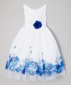 Look at this #zulilyfind! White & Blue Embroidered Daisy Dress - Girls #zulilyfinds