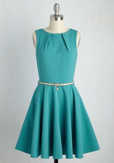 Luck Be a Lady Dress in Lagoon by Closet London - Blue, Solid, Work, Sleeveless, Summer, Woven, Better, Mid-length, Fit & Flare, Vintage Inspired