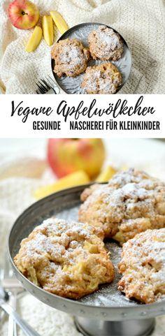 Vegane Apfelwölkchen: perfekte Nascherei für kleine Kinder: gesund, haushaltszuckerfrei, BLW-tauglich, salzfrei. Gesunde Kekse, Kuchen. Kinderrezept