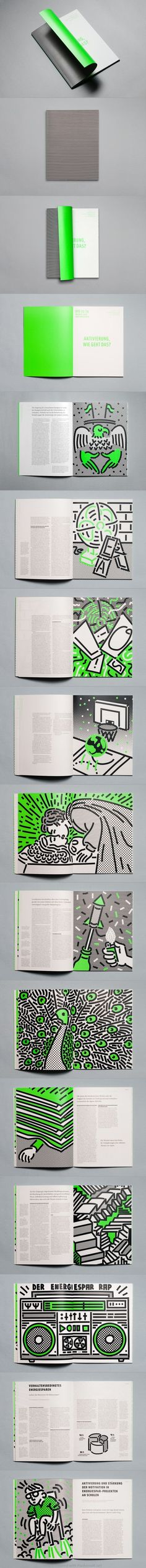 Editorial layout with amazing illustrations and color scheme