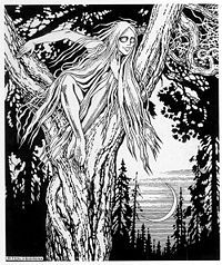 The Russian folklore creature - Rusalka (Mermaid). As in other culture, considered to be demonic creatures, as their beauty and beautiful voice used to entice young men after which there were drawn to the depth of the water and... killed.