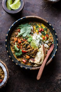 Simple Coconut Quinoa and Lentil Curry with Lime Mango  - CountryLiving.com