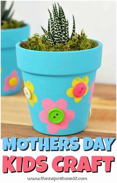 Easy Mother's Day Crafts, Summer Crafts For Kids, Mothers Day Crafts For Kids, Diy Mothers Day Gifts, Easy Crafts For Kids, Mothers Day Plants, Mothers Day Flower Pot, Flower Pot Crafts, Flower Pots