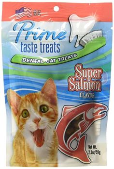 Prime Taste Treats Salmon Flavor Dental Treat for Cats 21 oz59g -- Continue to the product at the image link.