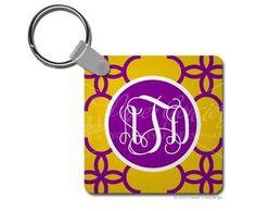 Purple/Yellow Lace Keychain