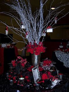Wish Tree with Silver, Glittered Birch Branches & shades of red roses.