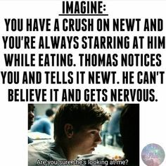 Thomas: yes she is Newt: *looks over and catches Rebeccas eyes* oh she is Rebecca: *looks away and blushes and begins a conversation with Aris* Newt: she is really cute Thomas: yes she is Maze Runner Funny, Maze Runner Thomas, Newt Maze Runner, Maze Runner Movie, Thomas Brodie Sangster, Maze Runner Trilogy, Maze Runner Series, Maze Runner Characters, Def Not