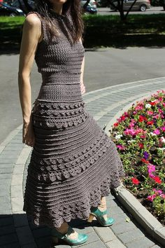 Crochet Summer Dresses, Black Crochet Dress, Crochet Skirts, Crochet Yarn, Crochet Clothes, Chrochet, Knit Dress, Clothing Patterns, Dress Patterns