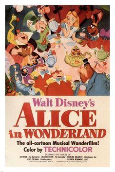 Walt Disney'S Alice In Wonderland Movie Poster 1951 24X36 Vintage Cartoon