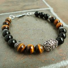 Black Onyx Tiger Eye Bali Sterling Silver Bracelet for Men, Guys, Dads, Beaded Black Brown Gemstone Mens Jewelry on Etsy, $62.95