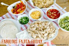 Echoes of Laughter: Fabulous Fajita Friday Mexican Salads, Mexican Dishes, Mexican Food Recipes, Great Recipes, Taco Bar, Crescent Rolls, Tortillas, Party Food Bars, Bar Food