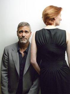 George Clooney and Tilda Swinton. George, you look concerned.