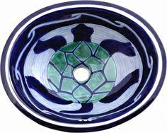Turtle Talavera Ceramic Oval Drop In Bathroom Sink