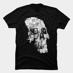 Horror Skull Tee: a mosaic of 39 iconic villains and monsters from classic horror films forming a shape of skull. This tee is a must-have for all horror movie fans!