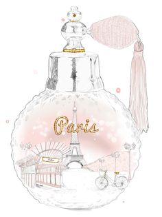 Paris Perfume Bottle illustrated by Natalie Lines via Behance #babypink #Paris #perfume