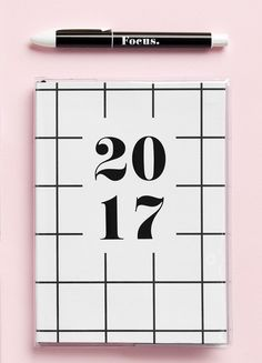 Embrace minimalist design with this 2017 Black & White Diary