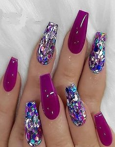 Colorful Nail Designs - 46 Elegant Acrylic Ombre Burgundy Coffin Nails Design For Short And Long Nails - Page 36 of 46 Burgundy Nail Designs, Burgundy Nails, Purple Nails, Ombre Burgundy, Orchid Nails, Sparkly Nail Designs, Pink Purple, Purple Glitter, Sparkly Nails