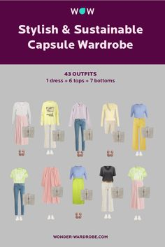 This capsule includes 1 dress, 6 tops, 7 bottoms, 2 pairs of shoes, 1 bag that result in 43 outfit combinations. Style: Dramatic style with casual elements. Colour type: Spring. Body shape: Inverted triangle, Rectangular. Season: Spring - Summer Method: Wonder Wardrobe.