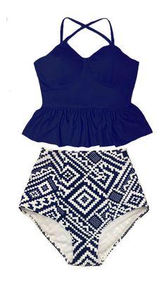 High waisted waist Swimsuit Bikini Swimwear Bathing suit S M L XL, Navy Blue Long Peplum Peplums Top and Graphic High waisted waist Bottom by venderstore on Etsy
