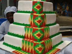 Amazing Wedding Cakes, Unique Wedding Cakes, Wedding Cakes With Flowers, Wedding Cake Designs, Wedding Ideas, African Wedding Cakes, African Wedding Theme, African Theme, Ghana Traditional Wedding