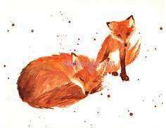 FOX Print, fantastic mr fox, cute animal art, nursery art, nursery prints, red fox art print, burnt orange, baby boy nursery