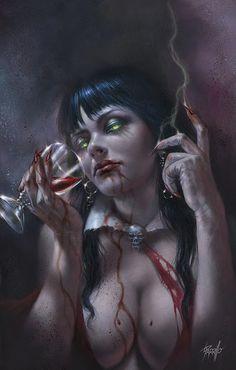 Vampirella by Lucio Parrillo Forgotten Realms, Buy Comics, Comics Girls, Red Sonja, Coven, Magic The Gathering, Dragon Ball, Female Vampire, Zombie Art