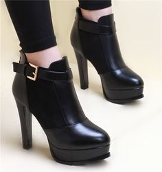 Womens Cool Edgy Ankle Strap Stylish Heel Boots