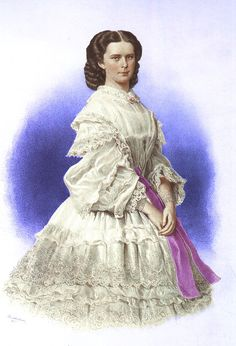 "Colorized print by unknown artist in 1860 of Empress Elisabeth ""Sissi"" (Elisabeth Amalie Eugenie) (24 Dec 1837-10 Sep 1898) Bavaria wearing a flounced dress. Sissi was the wife of Emperor Franz Joseph I (18 Aug 1830-21 Nov 1916) Austria."