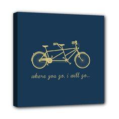 Tandem Bike Canvas  8 x 8  Where You Go I Will Go by ANCHORandVINE