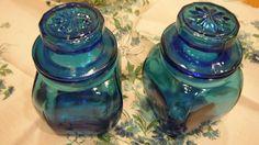 Vintage Peacock Blue Apothecary Jars - Bathroom
