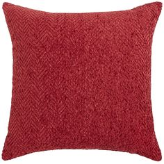 "20""  $28     When it comes to color and texture, our pillow is rich. Ultra-soft chenille yarn is woven in a classically striking herringbone pattern. Let it stand alone to add a pop of radiant red to a neutral room, or mix and match with our patterned pillows for a wealth of personality."