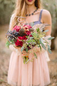 boho inspired bouquet, photo by Danielle Poff http://ruffledblog.com/bohemian-winter-glam-inspiration #flowers #bohemian