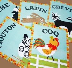 French farm animal cards by Children Inspire Design.there are lots of different languages to choose from- so cool! Vintage Farm, French Vintage, Children's Picture Books, Coq, Animal Cards, Farm Animals, Sheep, Goats, Rooster