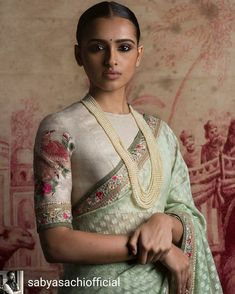 Raw silk blouse in ivory with embroidery and a pale sea green pastel hued saree with self pattern from - Of August 2016 Sari Blouse Designs, Saree Blouse Patterns, Indian Dresses, Indian Outfits, Ethnic Fashion, Indian Fashion, Saree Look, Elegant Saree, Indian Attire