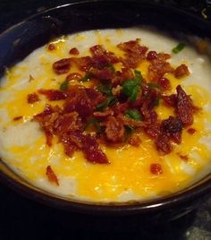 """Baked Potato Soup - Slow Cooker Style  **tested, family approved. There were NO left overs, that oughta' tell you something!!  Over heard at the table...""""It's a bowl of heaven"""", """"It's BETTER than *insert restaurant name*!!"""". *** hey-hey-good-lookin-whatcha-got-cookin"""