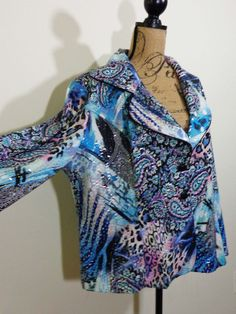 Artist IC Collection jacket lagenlook top art to wear blue artsy upscale sz 1X #ICCollection #BasicJacket