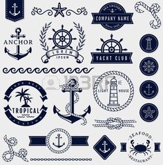 âncora: Jogo do mar e decora��es n�uticas isoladas no fundo branco. Recolha de elementos para logotipos da empresa, identidade do neg�cio, produtos de impress�o, p�gina web e decora��o ou o outro projeto. ilustra��o do vetor.