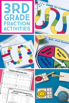 These 3rd grade fractions activities provide fun review for kids as they practice the Common Core standards with equivalent fractions and comparing fractions using fraction models and number lines.  Use these math games, independent activities, and worksheets in your elementary math class.  Printable fraction bars, number lines, and fraction model graphic organizers included!  Perfect for small groups, centers, stations as a hands on way to practice fractions in third grade.