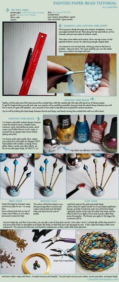 Painted Paper Bead Tutorial by ~Crimefish on deviantART