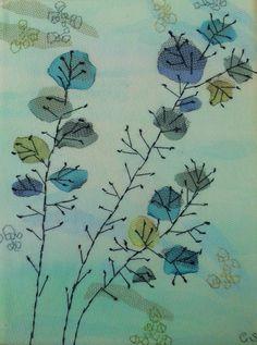 Bloemen - katoen, tule en borduurwerk 18x24 cm