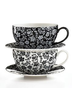 LOVE! Martha Stewart Collection - Black and white tea cup and saucer.