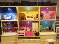 American girl doll house.  Made from pottery barn kids Cameron wall system.