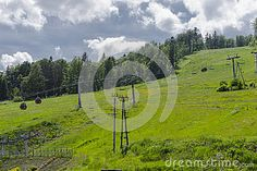 Landscapes from Jaworzyna Krynicka on ski slope, Mountains in Poland in the summer.