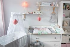 Inspiration for a scandinavian nursery Inspirations for a Scandinavian baby room in mint blush IKEA IKEA Hemnes chest of drawers becomes a changing table interior nordic interior scandi style Nursery Room, Girl Room, Ikea Hemnes Chest Of Drawers, Scandinavian Baby Room, Scandinavian Design, New Swedish Design, Changing Table Dresser, Baby Zimmer, Kallax