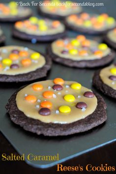 Soft and Chewy Salted Caramel Chocolate Cookies - Reese's Pieces put these over the top delicious!