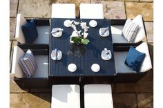 Rome Cube Rattan Garden Furniture 8 Seat Dining Set WITH FREE COVER WORTH £60