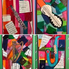 """Second grader's music collages to coordinate with their """"All About Music"""" music concert. Tissue paper, construction paper, and music sheets. Artist Exemplar: Romare Bearden."""